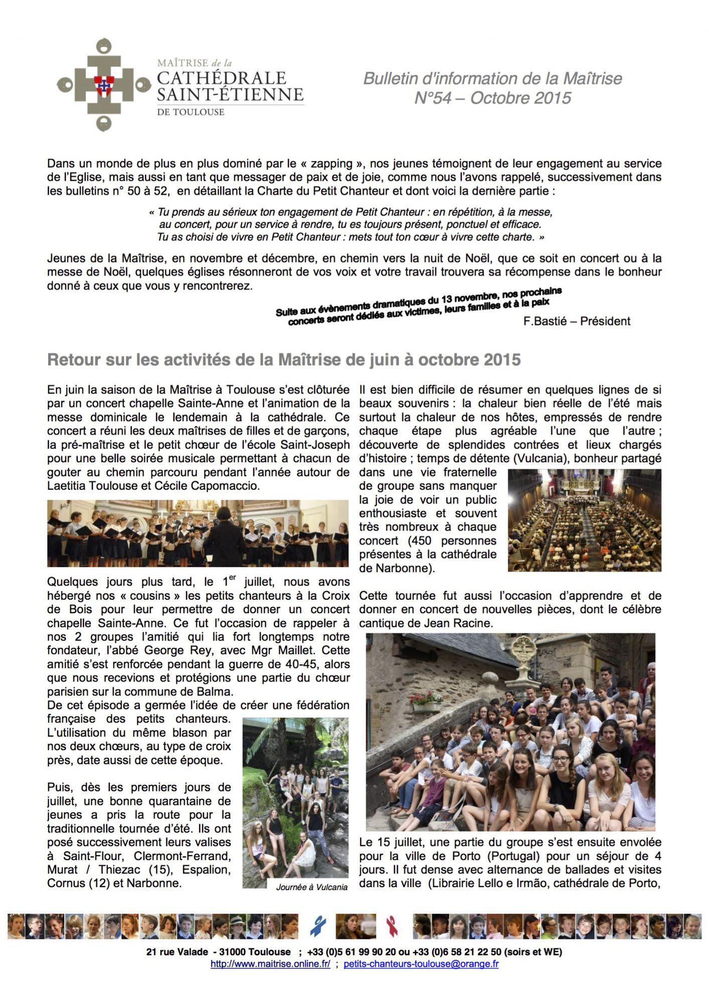 Bulletin No-54 Octobre 2015